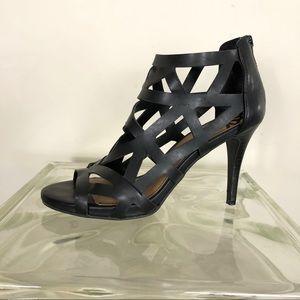 Fergalicious Black cage stiletto open toe heels 7